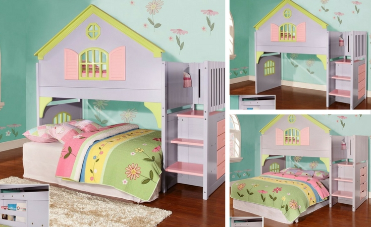 3 different ways to install the dollhouse loft bed. Pastel colors with 3 steps to the loft. Also has 4 side drawers. The bottom part can become another bed or extra play space.