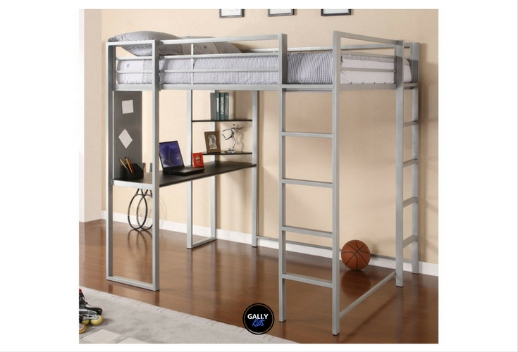 White full size loft bed with space for a ladder and more underneath it. Great for small rooms or even dorm space.