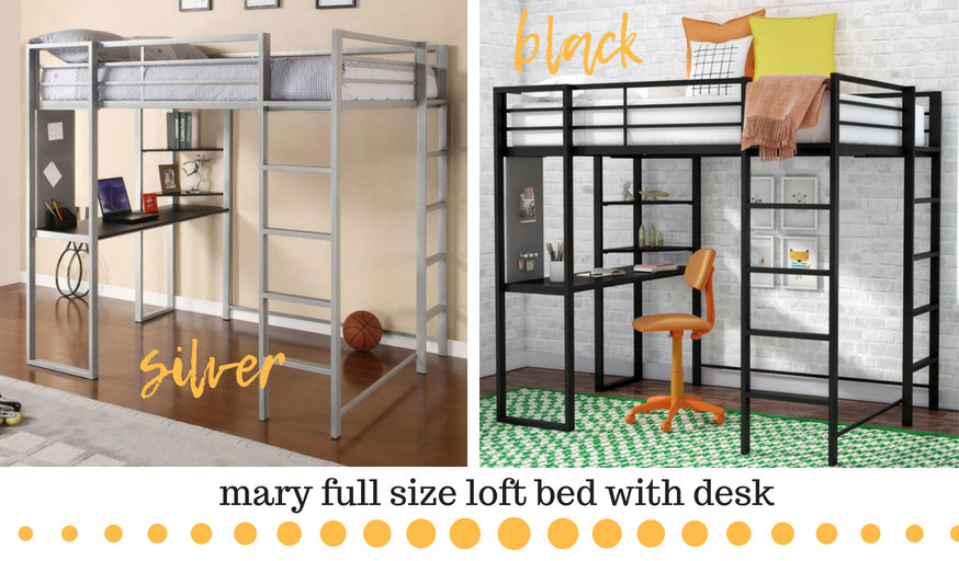 Loft bed with desk in silver and black. This is the Mary full size loft bed. The desk spans from the front to the back of the bed.