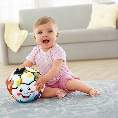 "Fisher-Price Laugh and Learn Singin' Soccer Ball- It's a cuddly stuffed toy, a ""teacher"" for learning and one that helps with developing gross motor skills."