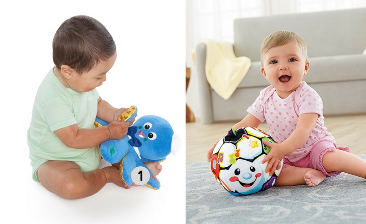2 musical plush toys for babies that are also learning toys. The Baby einstein octoplush and the fisher-price laugh and learn singin soccer ball.