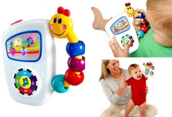 Baby Einstein take along tunes musical toy. Easy to carry and one that entertains babies too.