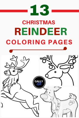 13 christmas reindeer coloring pages for kids to color. Includes baby reindeer, face, antler and more.