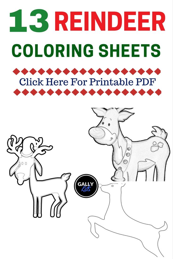 Free Printable Christmas Reindeer Coloring Pages
