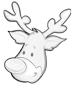 One of three different reindeer face to color on this free Christmas reindeer coloring pages