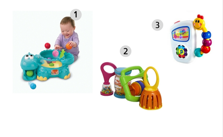 3 of the highly rated baby musical toys including the poppity dino, 4-musical instruments and the baby einstein take along tunes