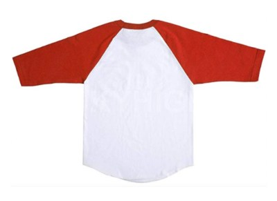 White shirt with red sleeves. Start with this if you want to make your own Harley Quinn DIY shirt with the Daddy's lil monster on it.