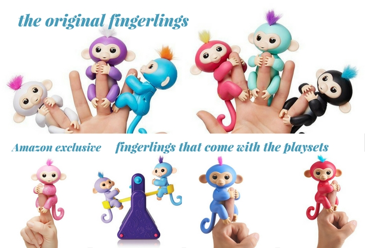 The original Monkey fingerlings toys. The 6 monkeys on the top were released first. The Fingerlings in the bottom are the ones that come with playsets and the pink glittery one is an Amazon exclusive.