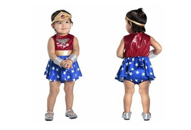 A cute wonder woman costume for babies and toddlers. It even has a diaper cover to complete the whole Wonder Woman look