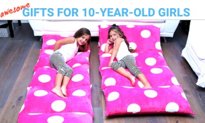 Best gifts and toys for 10 year old girl. This is one of the bestselling ones -- a pink floor lounger with white dots for sleepovers or just chilling on the floor.