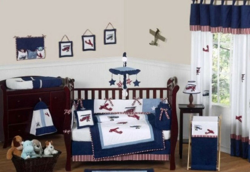13 piece baby bedding for airplane themed baby room