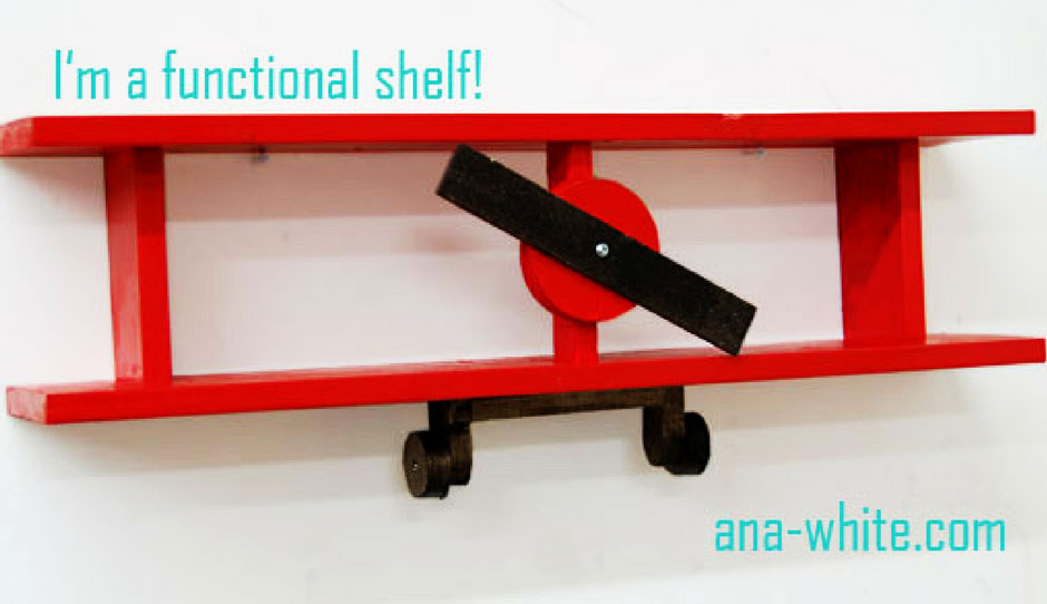 Red bookshelf with a airplane design.
