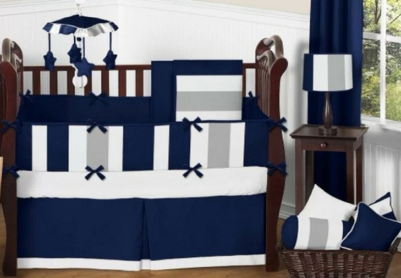 A subtle blue white and gray baby bedding