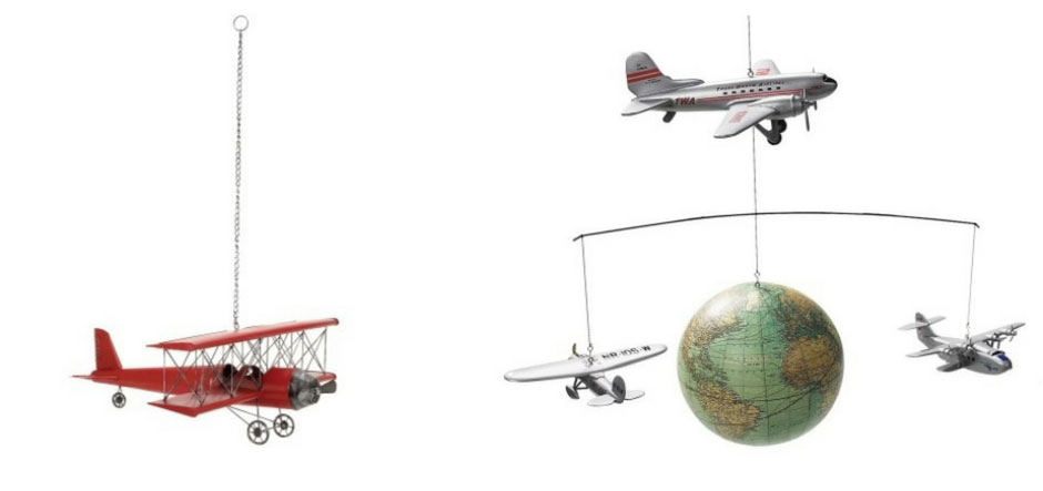 2 Different hanging airplanes for a nursery.  Red is simple.  The other one looks lovely too with the three planes with a globe in the middle