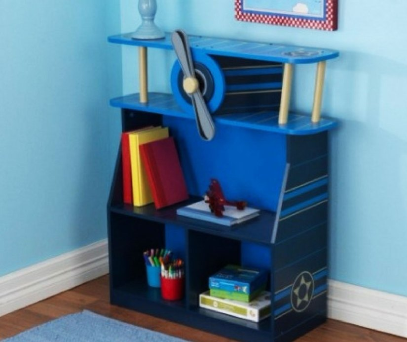 A blue bookcase with a propeller for an aviator theme nursery