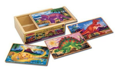 3 chunky dinosaur puzzles in one. Easy to handle and great motivation to play with for dinosaur loving toddlers.