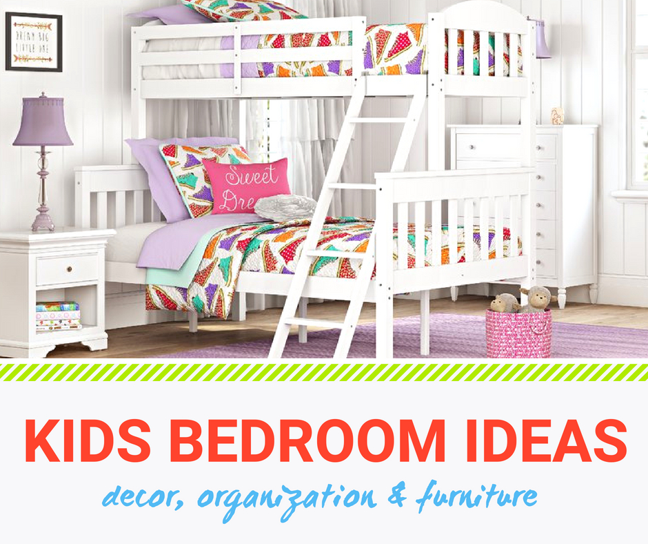 Kids bedrooms - a white bunk bed one twin and the bottom a full size. click here for more decor, organization and furniture ideas for kids rooms.