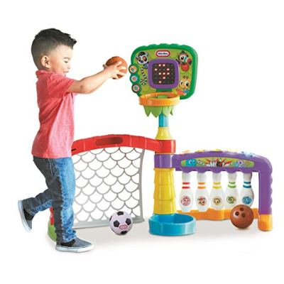 A basketball hoop, bowling set and soccer goal. Three sports in 1 for the active 2 year old boy. If you have a toddler who loves sports, this is the perfect gift