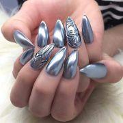 beautiful metallic chrome nail