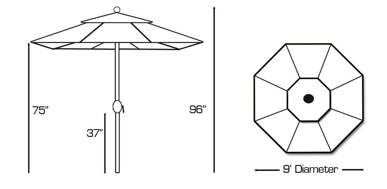 636 9' Manual Tilt Galtech International Market Umbrellas