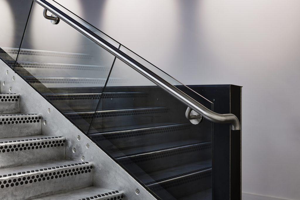 Galvanised steel balustrade - Gunton's Building Norwich, Hudson Architects