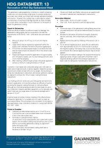 HDG Datasheet 13 - Renovation of Hot Dip Galvanized Steel
