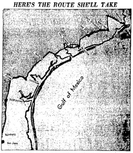 The Galveston Daily News ran this map with one of its many stories about Manuela Carreon. It shows the route she would take from Galveston to San Juan, Texas.