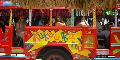 GALVESTON CRUISES  Kukoo Kunuku Open Air Bus  Beach