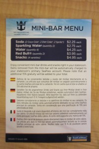 cruise mini-bar prices