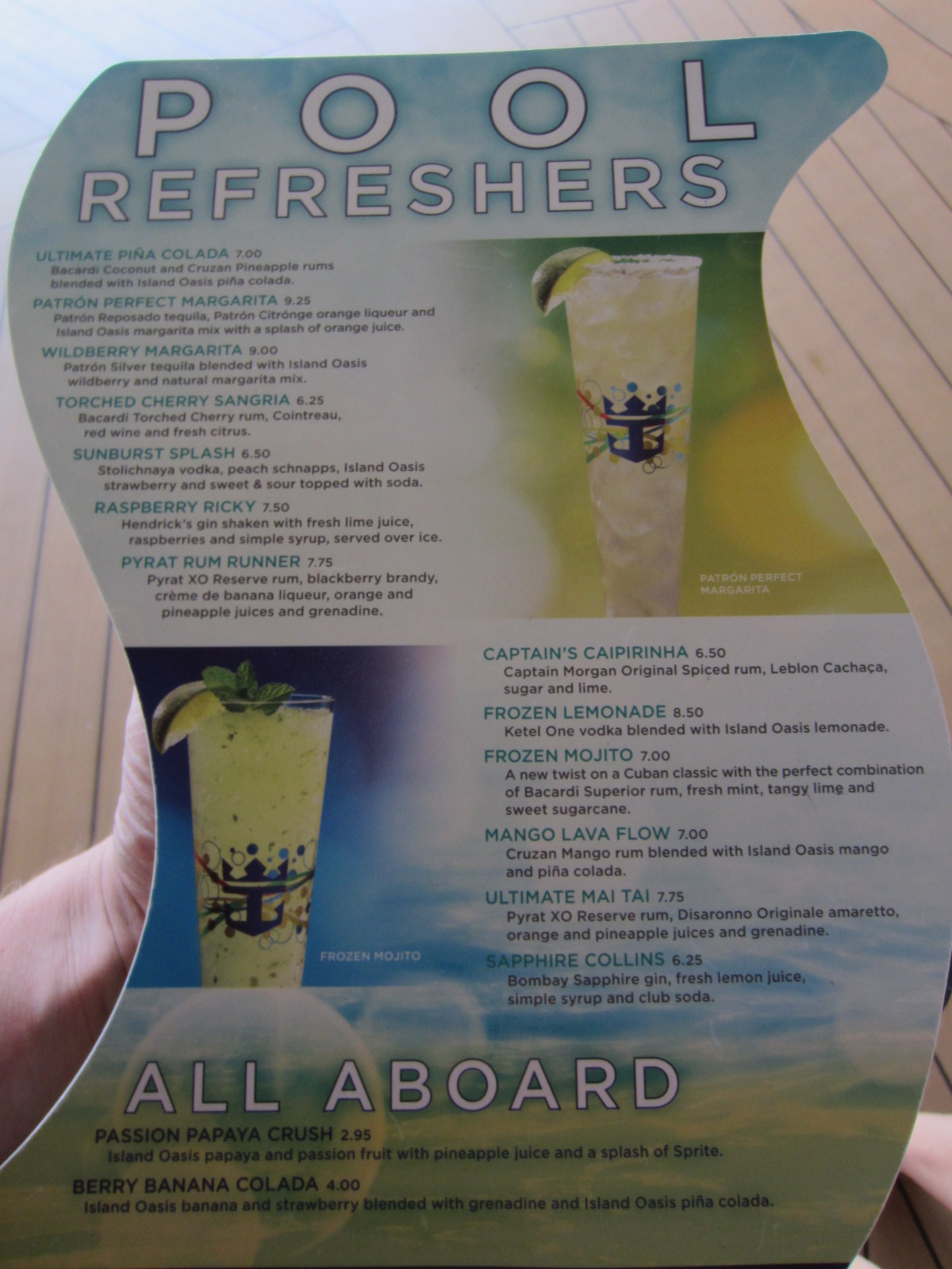Royal Caribbean Pool Bar Menu Prices Included
