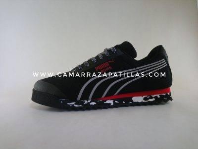 Zapatillas Puma Roma Negro con Rojo y Gris en Gamarra Zapatillas
