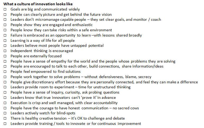 what a culture of innovation looks like