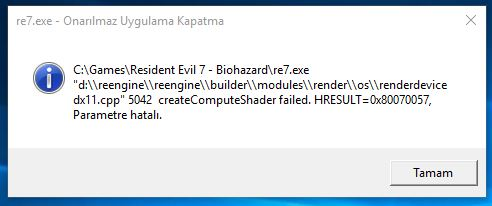 Resident Evil 7 Error dx11.cpp 5042 createComputeShader failed Fix CPY