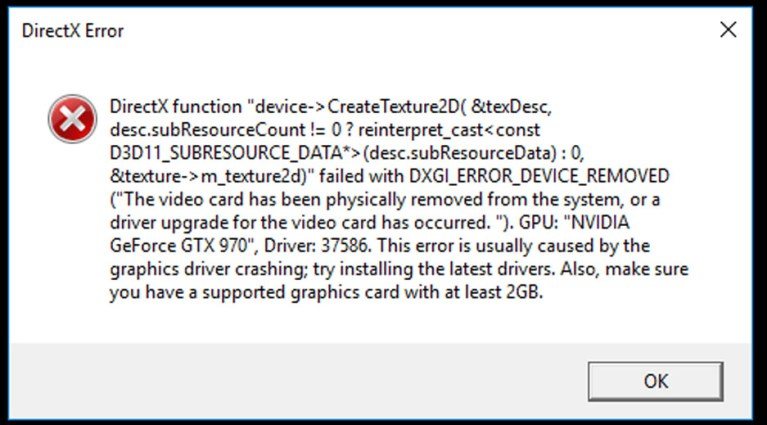 Directx Error DXGI_ERROR_DEVICE_REMOVED fix / solved