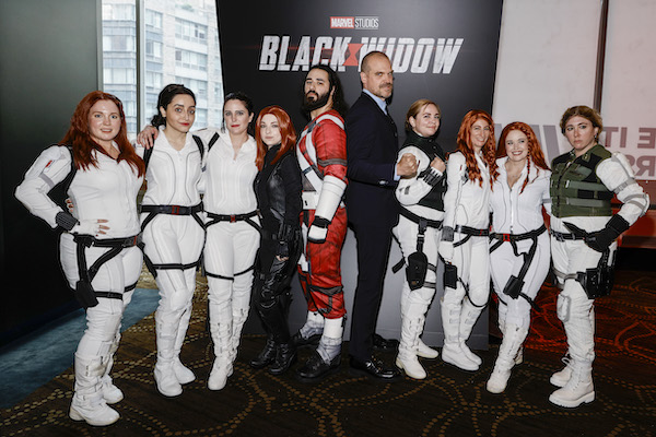 NEW YORK, NEW YORK - JUNE 29: David Harbour (Center Right) greets cosplayers dressed as Black Widow and Red Guardian during the Black Widow World Premiere Fan Event at AMC Lincoln Square Theater on June 29, 2021 in New York, New York. (Photo by Jamie McCarthy/Getty Images for Disney)