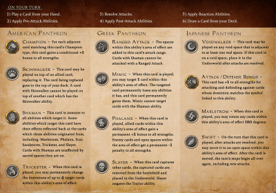 Immortal: a Strategy Game of Warring Mythologies - player reference sheet