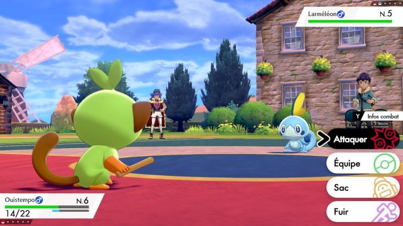 Soluce Pokemon Épée Bouclier ville de Paddoxton combat, Larméléon, Ouistempo