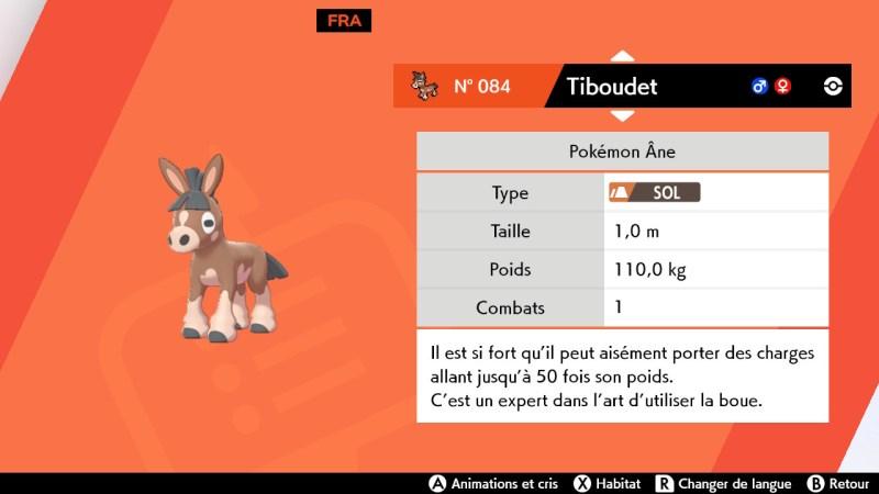 Solution pokémon épée et bouclier route 3 emplacement pokemon tiboudet