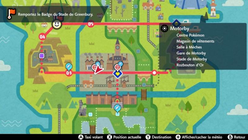 Solution pokemon épée et bouclier ville de motorby emplacement map carte