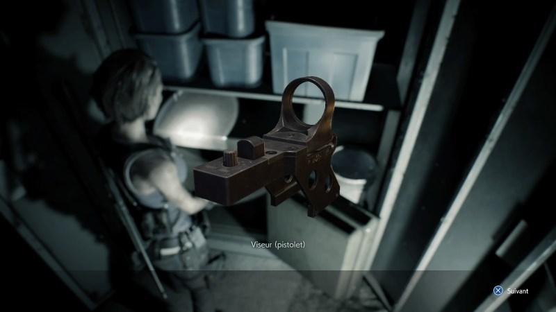 resident evil 3 remake, soluce et guide des armes, viseur pistolet G19 emplacement