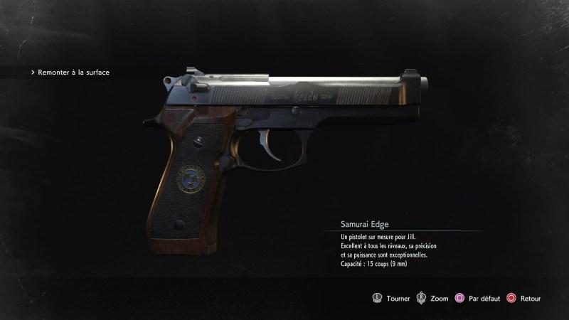 resident evil 3 remake, soluce et guide des arme, samurai edge emplacement