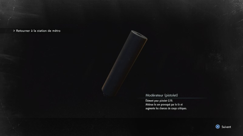 resident evil 3 remake, soluce et guide des armes, modérateur pistolet G19 emplacement