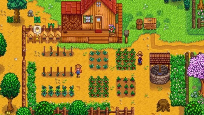 Screenshot of a farm in Stardew Valley