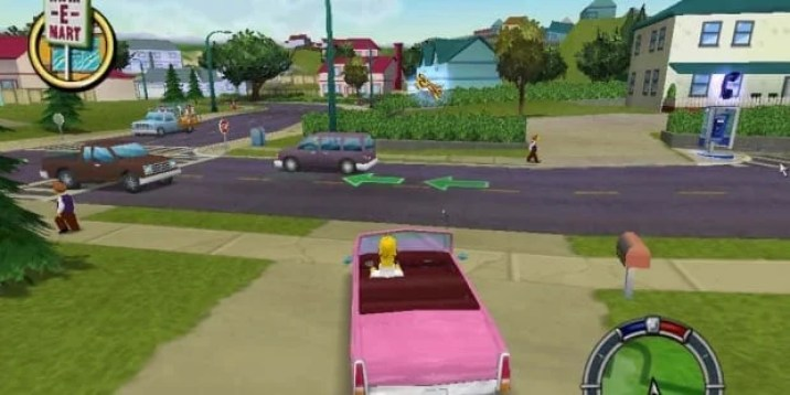 Homer driving in Simpsons Hit n Run