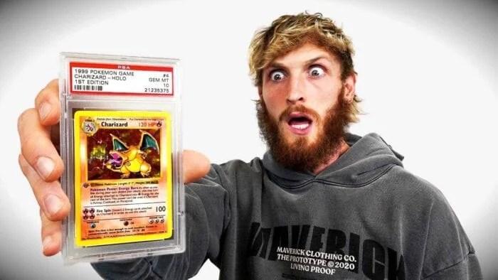 logan paul with pokemon card