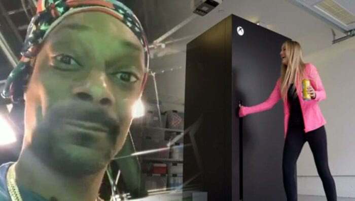 Snoop Dogg and iJustine with Xbox fridge