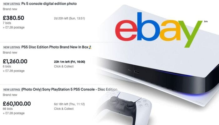 ebay listing of ps5 next to image of ps5
