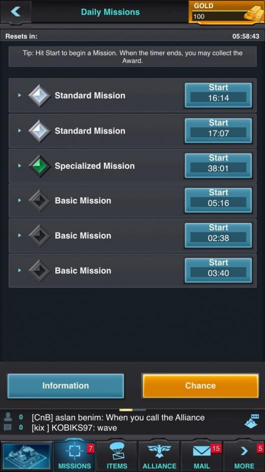 Mobile Strike missions
