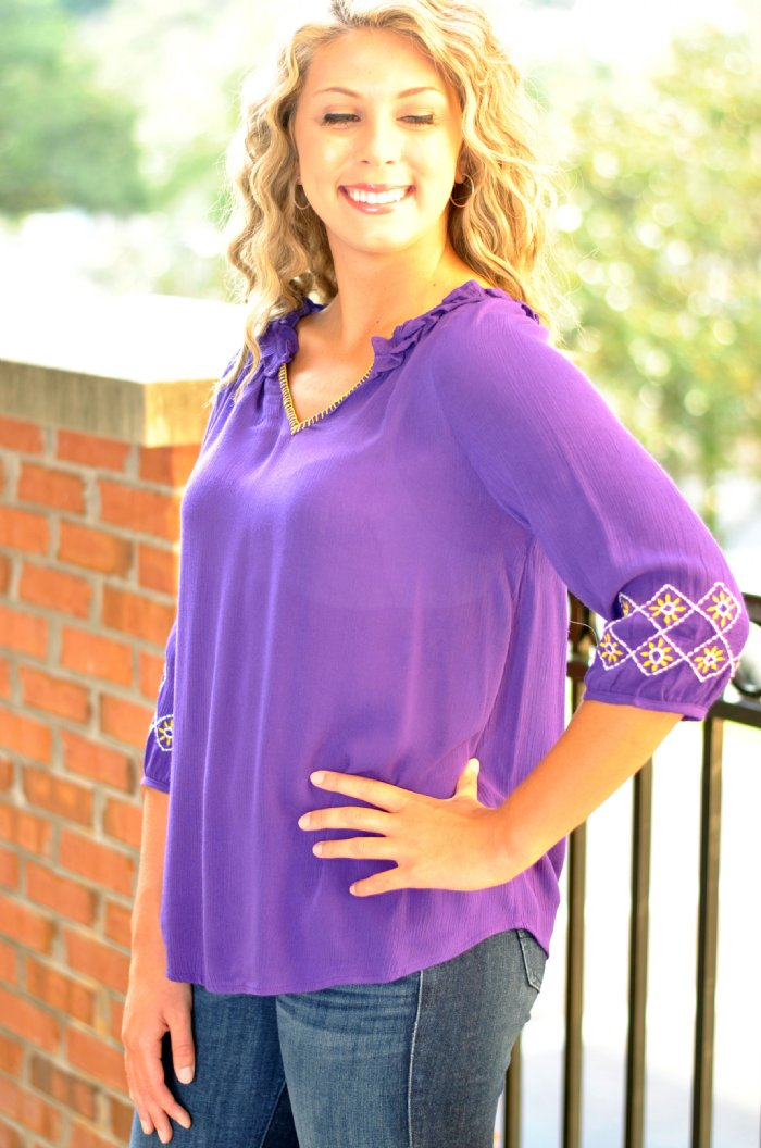 Sleeve Long Purple Shirt Southern