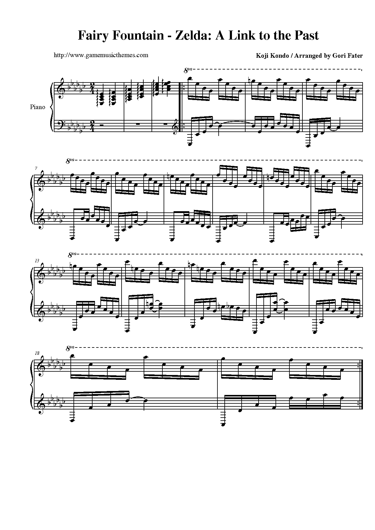 Game Music Themes - The Legend of Zelda: A Link to the Past Sheet Music